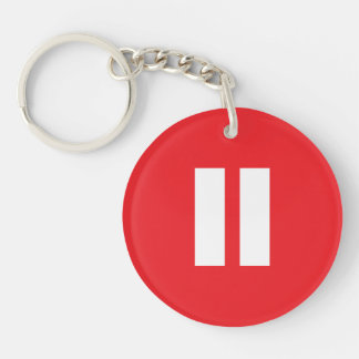 Red & White Pause Button Keychain