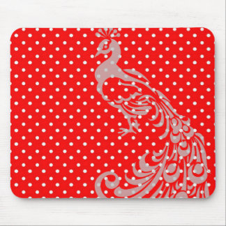 RED-WHITE-PEACOCK-POLKA-DOT-MOUSEPAD MOUSE PAD