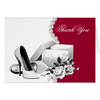 Red White Pearls High Heel Shoes Thank You Cards Note Card
