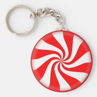 Red White Peppermint Candy Key Ring