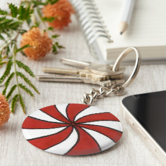 Red White Peppermint Candy Mint Holiday Christmas Key Ring