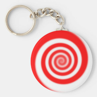 Red & White Peppermint Candy Swirl Basic Round Button Key Ring