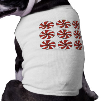 Red White Peppermint Swirl Candy Christmas Dog Tee