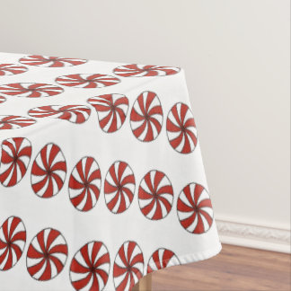 Red White Peppermint Swirl Mint Candy Christmas Tablecloth