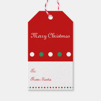 Red White Personalized Christmas Gift Tags