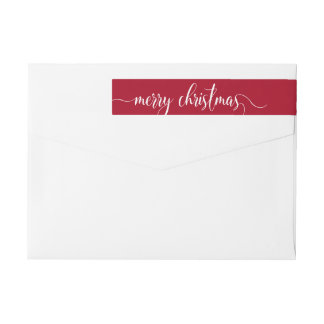 Red White Personalized Merry Christmas Typography Wraparound Return Address Label