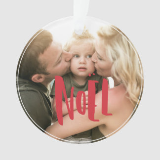 Red & White Photo Christmas Holiday Ornament