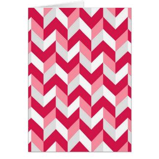 Red White Pink Herringbone Chevron Zigzag Pattern Card
