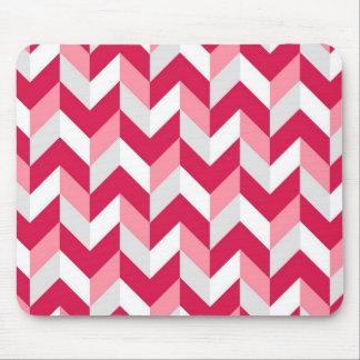 Red White Pink Herringbone Chevron Zigzag Pattern Mouse Pads