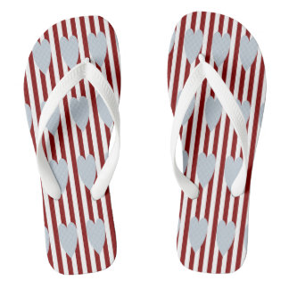 RED/WHITE PINSTRIPE GREY HEARTS FLIP-FLOP THONGS