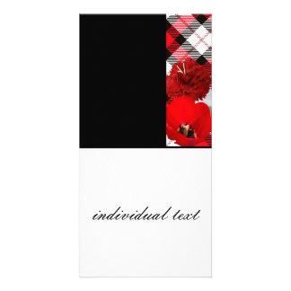 red white plaid-black photo cards