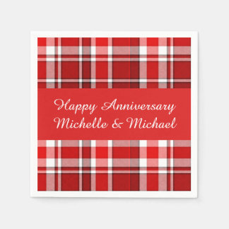Red White Plaid Tartan | Add Your Name Disposable Serviettes