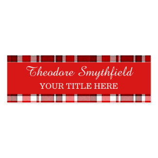 Red White Plaid Tartan Pack Of Skinny Business Cards