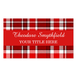 Red White Plaid Tartan Pack Of Standard Business Cards