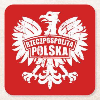 """Red & White Polish """"Rzeczpospolita Polska"""" Eagle Square Paper Coaster"""