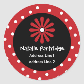 Red White Polka Dot Address Labels Round Sticker