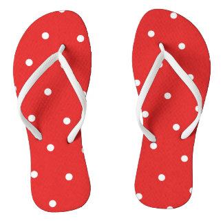 Red/White Polka Dot Flip Flops