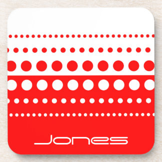 Red White Polka Dot Pattern Coasters