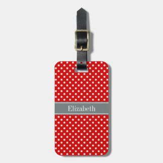Red White Polka Dots Charcoal Ribbon Monogram Bag Tag