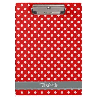 Red White Polka Dots Charcoal Ribbon Monogram Clipboard