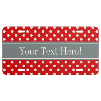 Red White Polka Dots Charcoal Ribbon Monogram License Plate