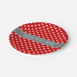 Red White Polka Dots Charcoal Ribbon Monogram 7 Inch Paper Plate