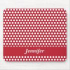 Red & white polka dots custom girls name mousepad
