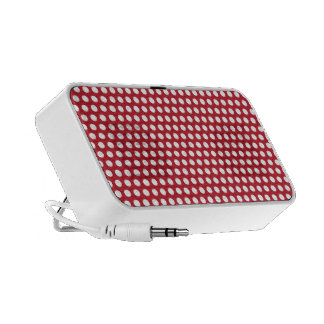 Red & white polka dots pattern doodle speakers