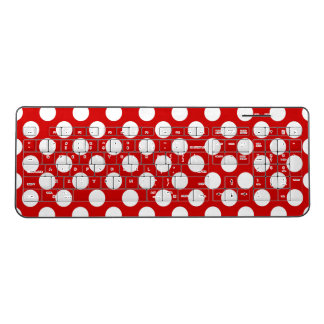 Red White Polka Dots Retro Pattern Wireless Keyboard
