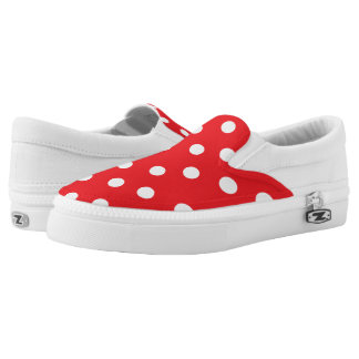 Red + White Polka Dots Unisex Slip On Shoes Printed Shoes