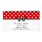 Red, White Polka Dots Water Label, Charcoal