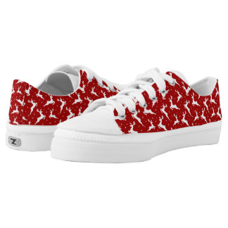 Red & White Prancing Reindeer Holiday Shoes Printed Shoes
