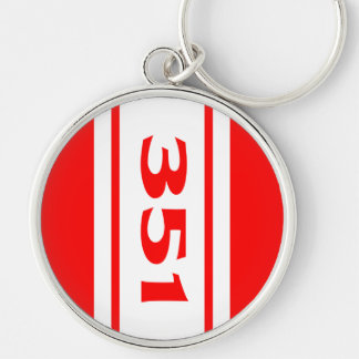 Red White Racing Stripes 351 Motor Size Keychain Keychain