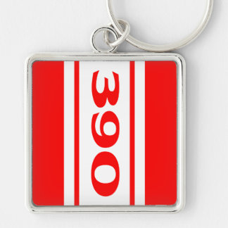 Red White Racing Stripes 390 Motor Size Keychain