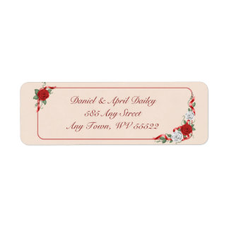 Red & White Roses Return Address Labels