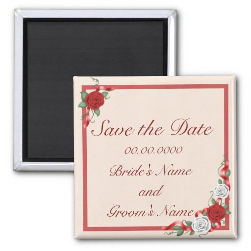 Red & White Roses Save the Date Wedding Magnet