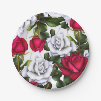 Red & White Roses Shabby Chic Rustic Modern Glam Paper Plate