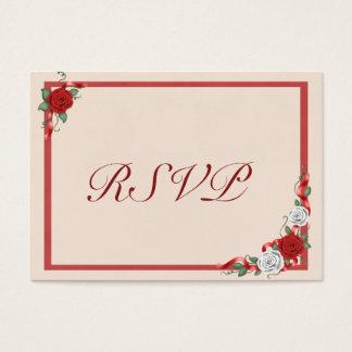 Red & White Roses Wedding Invitation RSVP Insert