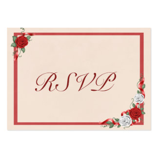 Red White Roses Wedding Invitation RSVP Insert Business Cards