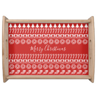Red/White Rows Merry Christmas Font Art Pattern Serving Tray