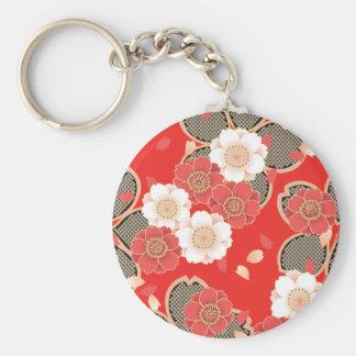 Red & White Sakura Japanese Kimono Basic Round Button Key Ring