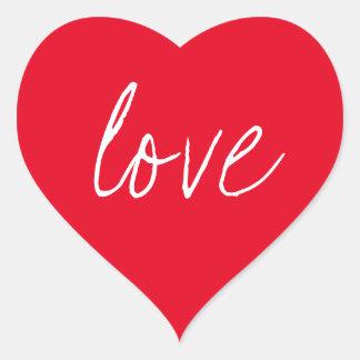Red White Script Sticker Love