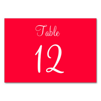 Red White Script Wedding Table Cards