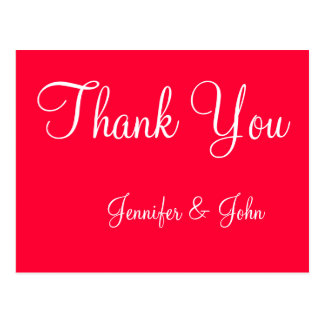 Red White Script Wedding Thank You Cards Postcard
