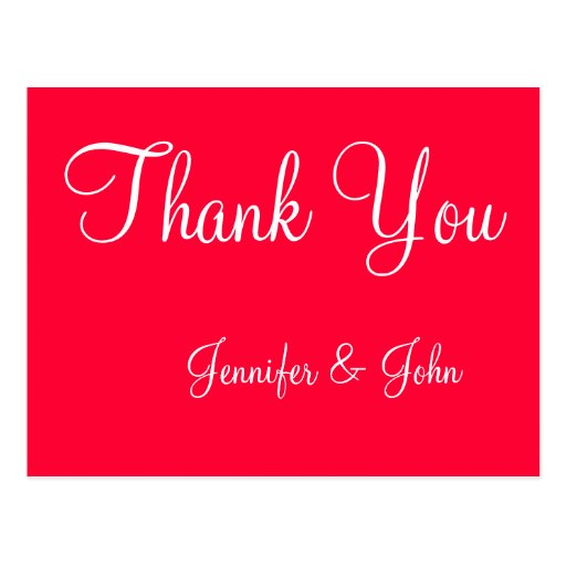 Red White Script Wedding Thank You Cards Post Card