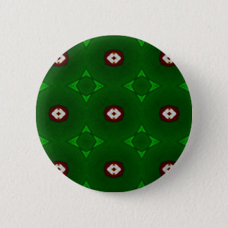 Red White Shapes on Green Christmas Pattern 6 Cm Round Badge