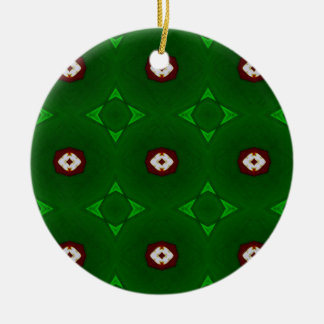 Red White Shapes on Green Christmas Pattern Round Ceramic Decoration