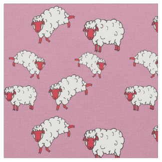 Red/white sheep/little lambs on pink 2 fabric