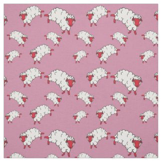 Red/white sheep/little lambs on pink fabric