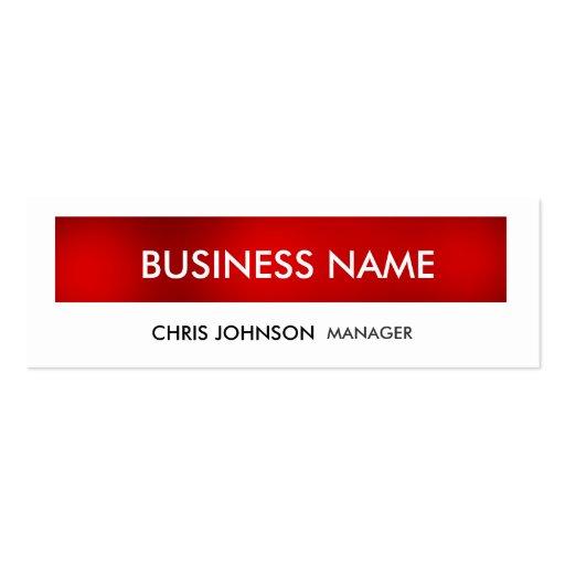 Red White Skinny Trendy Modern Business Card
